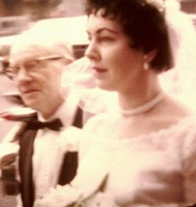 My mom & Poppy emerging from the limo outside the Church of the Announciation 3-17-1963